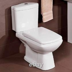 Square Modern Design Close Coupled Toilet Pan WC Heavy Duty Soft Close Seat