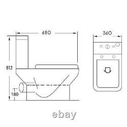 Square Rimless Close Coupled Toilet & Soft Close Seat
