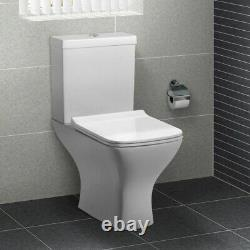 Square Short Projection Close Coupled Toilet Pan WC Open Back soft close Seat