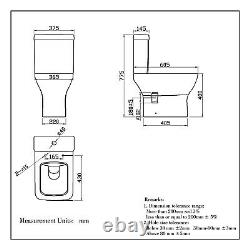 Square Toilet Close Coupled Soft Close Seat Cistern Modern Bathroom WC Pan
