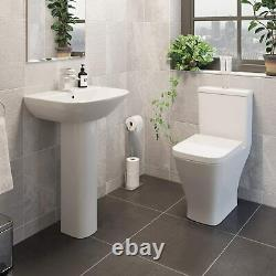 Square Toilet Close Coupled With Soft Close Seat Modern White Gloss Button Flush
