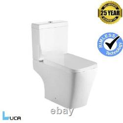 Square Toilet Rimless Open Back Close Coupled Modern Soft Close Seat Connector