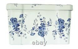 TRTC Floral Blue & White Close Coupled Toilet Traditional Victorian Edwardian