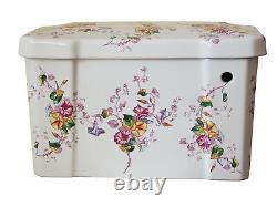 TRTC Floral Multicoloured Close Coupled Toilet Traditional Victorian Edwardian