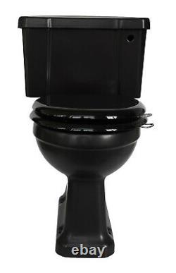 TRTC Satin Black Close Coupled Toilet Traditional Victorian Edwardian