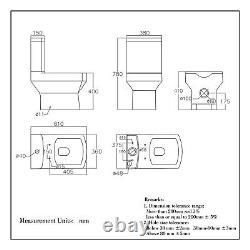 Toilet Ceramic Close Coupled Soft Close Seat Cistern Modern Bathroom Square WC