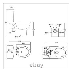Toilet Ceramic Close Coupled With Soft Close Seat Cistern Modern Bathroom