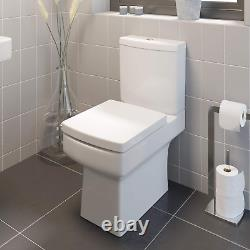 Toilet Close Coupled WC Soft Close Seat Short Projection Bathroom Cloakroom