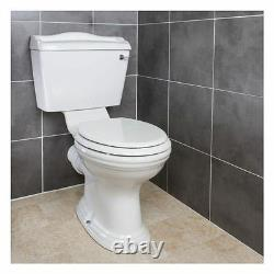 Traditional Close Coupled Toilet White Ceramic Pan Cistern Seat WC Lever Flush