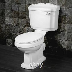 Victorian Traditional WC Close Coupled Toilet Pan with Lever Cistern soft seat