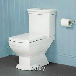Victorian Traditional square WC Close Coupled Toilet Pan soft seat