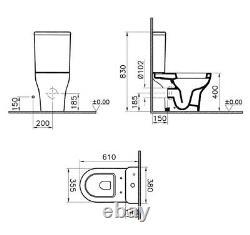 VitrA Zentrum Close Coupled D Shape Open Back Toilet Pan WC Soft Seat