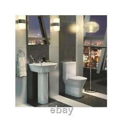 White Modern Toilet Ceramic Bathroom Close Coupled Pan Cistern Soft Close Seat